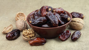 Dates and walnut Stock Photo