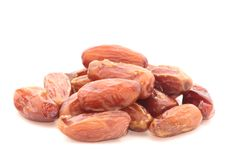 Dates. Which the good source of carbohydrates isolated on white Stock Photo