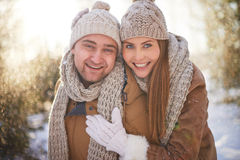 Dates in winterwear Stock Photos