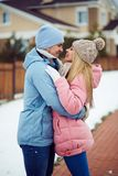 Dates in winterwear Stock Photo