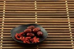 Dates wolfberry et rouges chinoises Images libres de droits