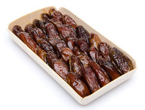 Dates in a wooden box Royalty Free Stock Photo