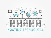 Dati che ospitano infrastruttura con il sistema del server Fotografia Stock