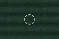 Dati del computer da 0 e da 1 nel colore verde su fondo scuro Con la lente ed il simbolo dell'insetto illustrazione vettoriale
