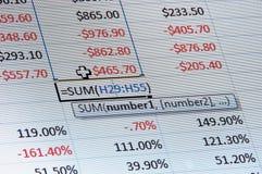Dati del foglio elettronico Immagine Stock