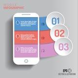 Dati del telefono cellulare di Infographics/stile della carta Fotografia Stock