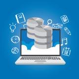 Dati della base di dati nel simbolo di stoccaggio di multimedia della rete della nuvola Immagine Stock
