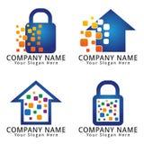 Dati di Digital Logo Home e concetto del lucchetto Fotografie Stock