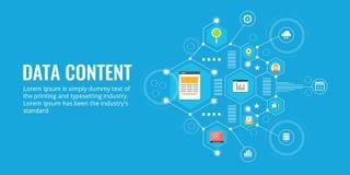 Dati di gestione, rapporto di vendita, contenuto digitale ed informazioni, analisi, concetto di ricerca Insegna piana di vettore  illustrazione vettoriale