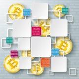Dati dorati colorati Blockchain di Bitcoins delle strutture dei quadrati Immagine Stock