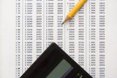 Dati finanziari per i calcoli Immagine Stock