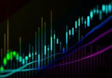 Dati finanziari su un monitor, grafico del bastone della candela del mercato azionario, Fotografia Stock