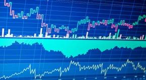 Dati finanziari su un monitor Il mercato azionario ed altro li finanziano fotografia stock libera da diritti