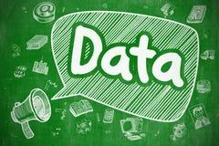 Dati - illustrazione disegnata a mano sulla lavagna verde Fotografie Stock Libere da Diritti