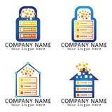Dati Logo Home del server ed ospite di Digital e concetto del lucchetto Immagini Stock