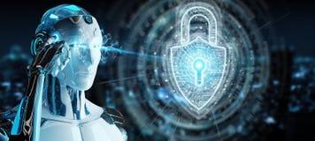 Dati proteggenti del robot bianco con la rappresentazione digitale dell'ologramma 3D del lucchetto di sicurezza illustrazione vettoriale