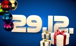 29 12 datieren Illustration der Kalendergeschenkbox-Weihnachtsbaum-Bälle 3d Stockfoto