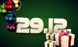 29 12 datieren Illustration der Kalendergeschenkbox-Weihnachtsbaum-Bälle 3d Lizenzfreie Stockfotografie
