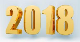 Datieren Sie 2018 auf einem hellen Hintergrund im Format 3d Gold, welches die 2018 guten Rutsch ins Neue Jahr-Fahne glänzt Auch i Stockbild