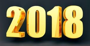 Datieren Sie 2018 auf einem schwarzen Hintergrund im Format 3d Gold, welches die 2018 guten Rutsch ins Neue Jahr-Fahne glänzt Auc Stockbilder