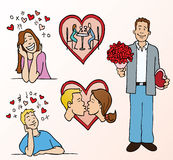 Datierung und Romance Karikaturen stock abbildung