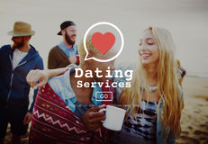 Datierungs-Service-Valentine Romance Heart Blind Date-Konzept Stockfoto
