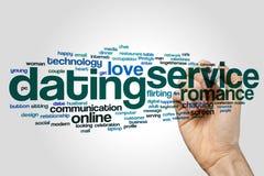 DatierungsMeldewort-Wolkenkonzept auf grauem Hintergrund Stockfotos