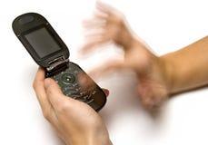 Datilografando um SMS Imagens de Stock