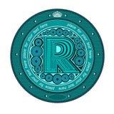 Datilografe a etiqueta da bandeira do círculo da letra principal r Imagens de Stock Royalty Free