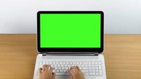 Datilografia em um laptop e em um monitor verde da tela vídeos de arquivo