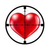Dating. Hunting for love with a crosshair aiming target at a red heart representing the concept of dating and relationships search and searching for your soul Royalty Free Stock Photography
