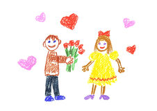 Dating. Girl and boy on date illustration Royalty Free Stock Images