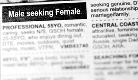 Dating Ads - Male seeking Female. Dating advertisements on news paper. Males are looking for female partners Stock Photos