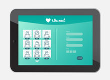 Dating app interface on tablet screen Stock Images
