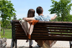 Dating on bench Stock Photo
