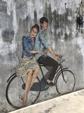 Dating on bicycle royalty free stock images