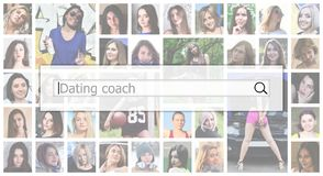 Dating coach. The text is displayed in the search box on the background of a collage of many square female portraits. The concept. Of service for dating royalty free stock photography