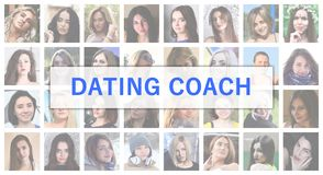 Dating coach. The title text is depicted on the background of a. Collage of many square female portraits. The concept of service for dating royalty free stock image