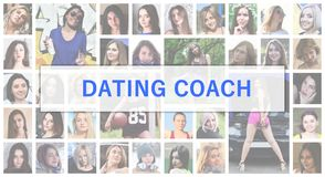 Dating coach. The title text is depicted on the background of a. Collage of many square female portraits. The concept of service for dating royalty free stock photo