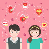 Dating Concept. Conceptual illustration of children in love with dating symbols Royalty Free Stock Images
