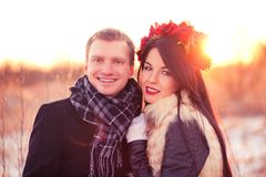 Dating couple. Romantic dating and walking together on Valentine's Day Stock Images