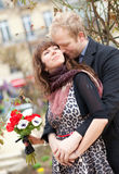 Dating couple with beautiful bright anemones Stock Images