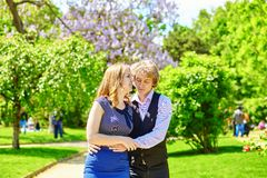 Dating couple in beautiful park at spring Stock Photography