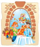 Dating couple in the cafe. Dating couple in the cafe next to a huge window with autumn landscape Stock Photos