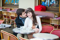 Dating couple in a cafe Royalty Free Stock Images