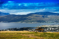 Dating couple enjoying the beauty of Norway nature background Stock Images