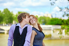 Dating couple enjoying sunny day in Paris Royalty Free Stock Image