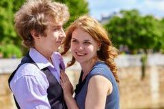 Dating couple enjoying sunny day in Paris Royalty Free Stock Image