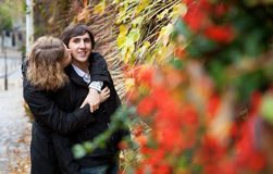 Dating couple at fall Royalty Free Stock Photography