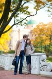 Dating couple on a fall day in Saint-Petersburg Royalty Free Stock Images